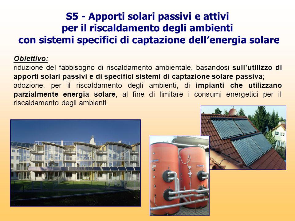 S5 - Apporti solari passivi e attivi per il riscaldamento degli ambienti con sistemi specifici di captazione dell'energia solare Obiettivo: riduzione