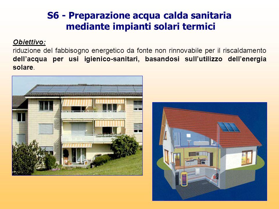 S6 - Preparazione acqua calda sanitaria mediante impianti solari termici Obiettivo: riduzione del fabbisogno energetico da fonte non rinnovabile per i