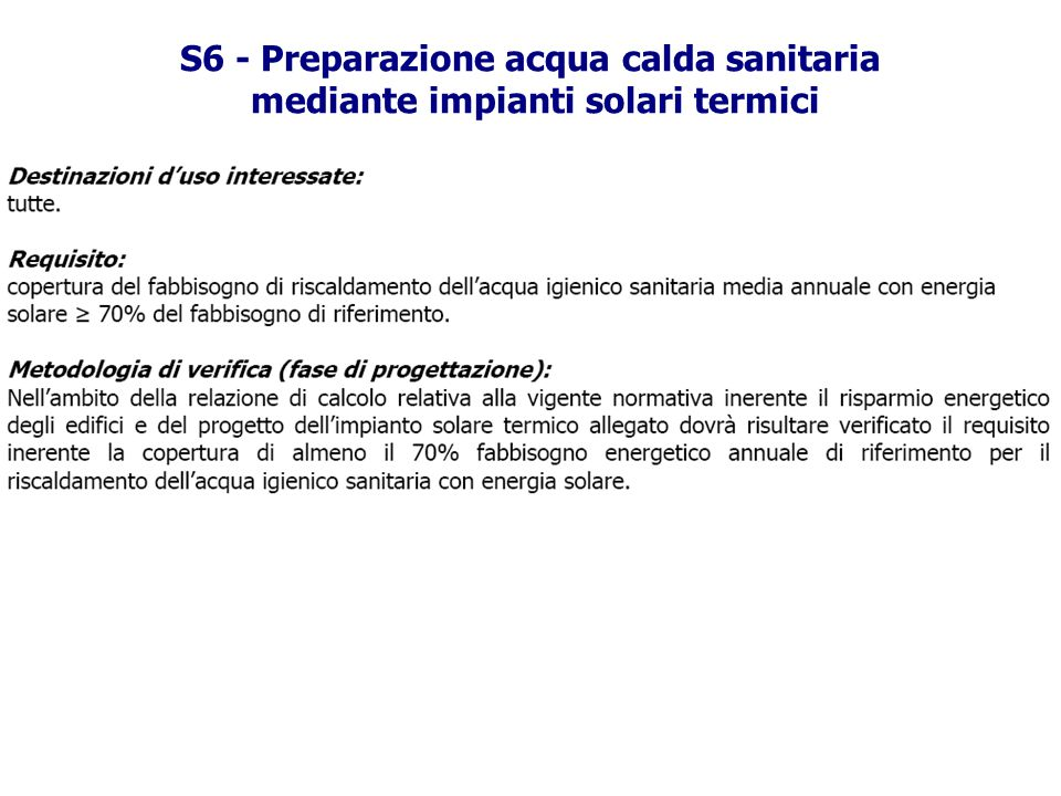 S6 - Preparazione acqua calda sanitaria mediante impianti solari termici