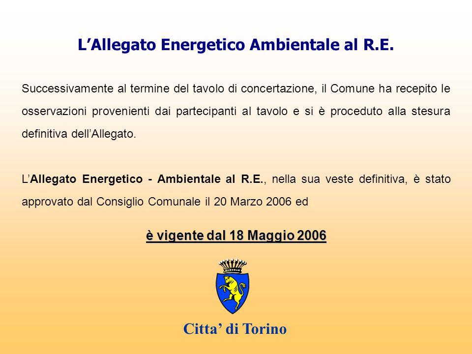 L'Allegato Energetico Ambientale al R.E. Successivamente al termine del tavolo di concertazione, il Comune ha recepito le osservazioni provenienti dai