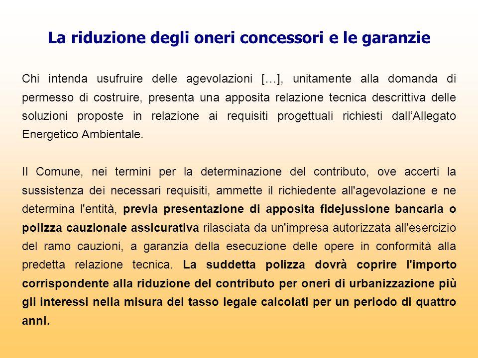 La riduzione degli oneri concessori e le garanzie Chi intenda usufruire delle agevolazioni […], unitamente alla domanda di permesso di costruire, pres
