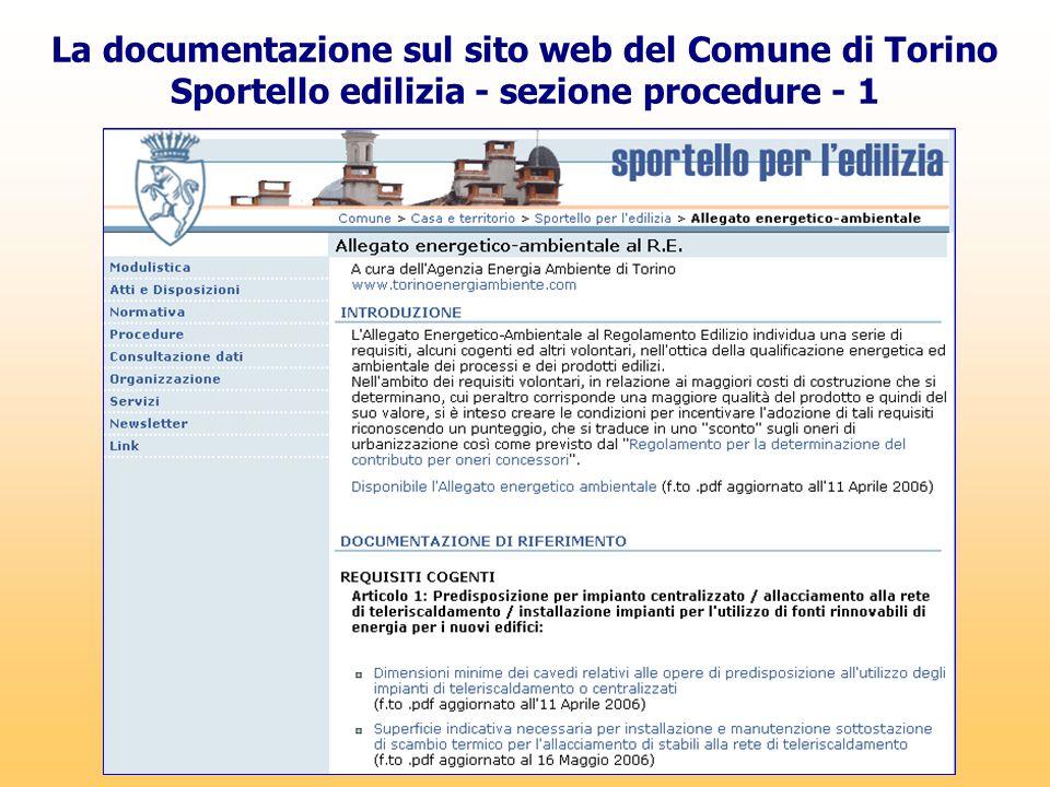 La documentazione sul sito web del Comune di Torino Sportello edilizia - sezione procedure - 1