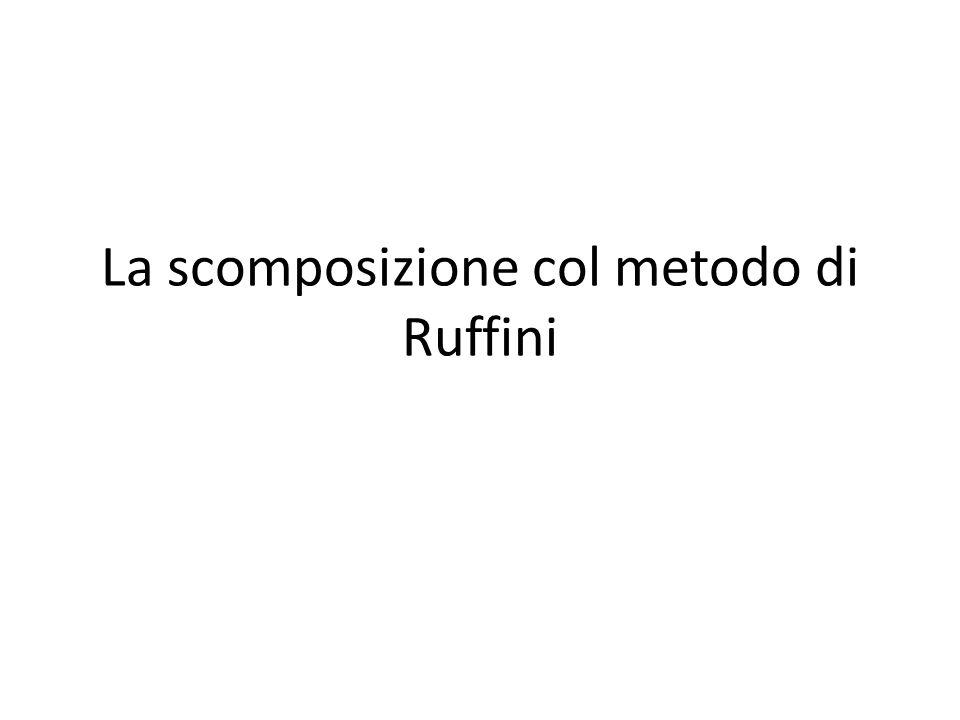 La scomposizione col metodo di Ruffini