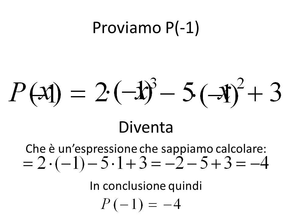 Proviamo P(-1) Diventa Che è un'espressione che sappiamo calcolare: In conclusione quindi
