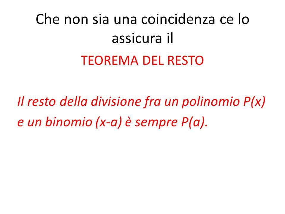 Che non sia una coincidenza ce lo assicura il TEOREMA DEL RESTO Il resto della divisione fra un polinomio P(x) e un binomio (x-a) è sempre P(a).