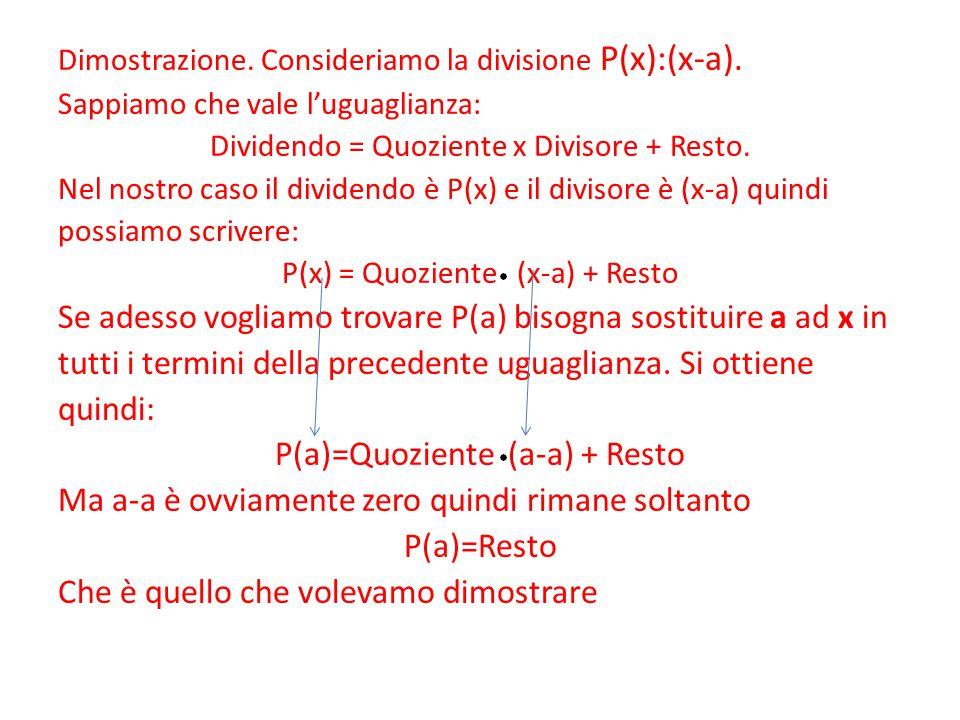 Dimostrazione. Consideriamo la divisione P(x):(x-a). Sappiamo che vale l'uguaglianza: Dividendo = Quoziente x Divisore + Resto. Nel nostro caso il div