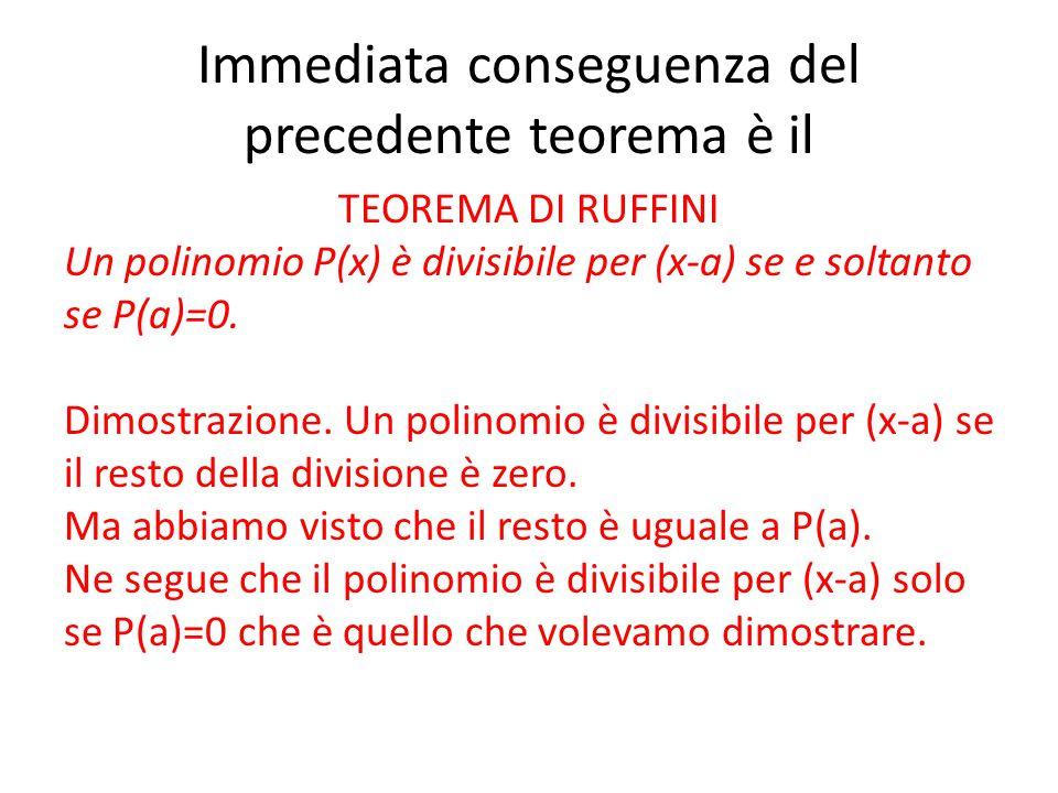 Immediata conseguenza del precedente teorema è il TEOREMA DI RUFFINI Un polinomio P(x) è divisibile per (x-a) se e soltanto se P(a)=0. Dimostrazione.