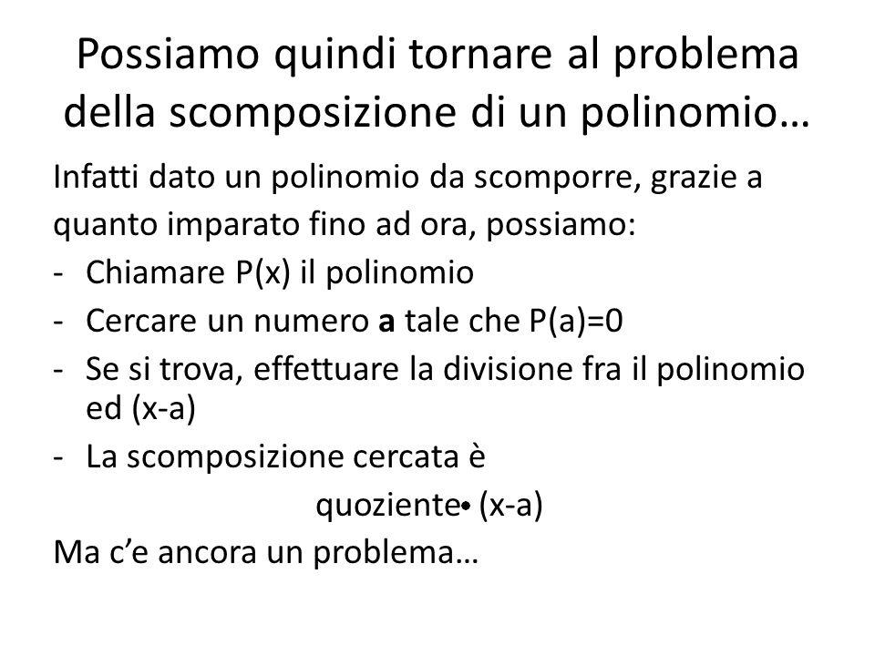 Possiamo quindi tornare al problema della scomposizione di un polinomio… Infatti dato un polinomio da scomporre, grazie a quanto imparato fino ad ora,