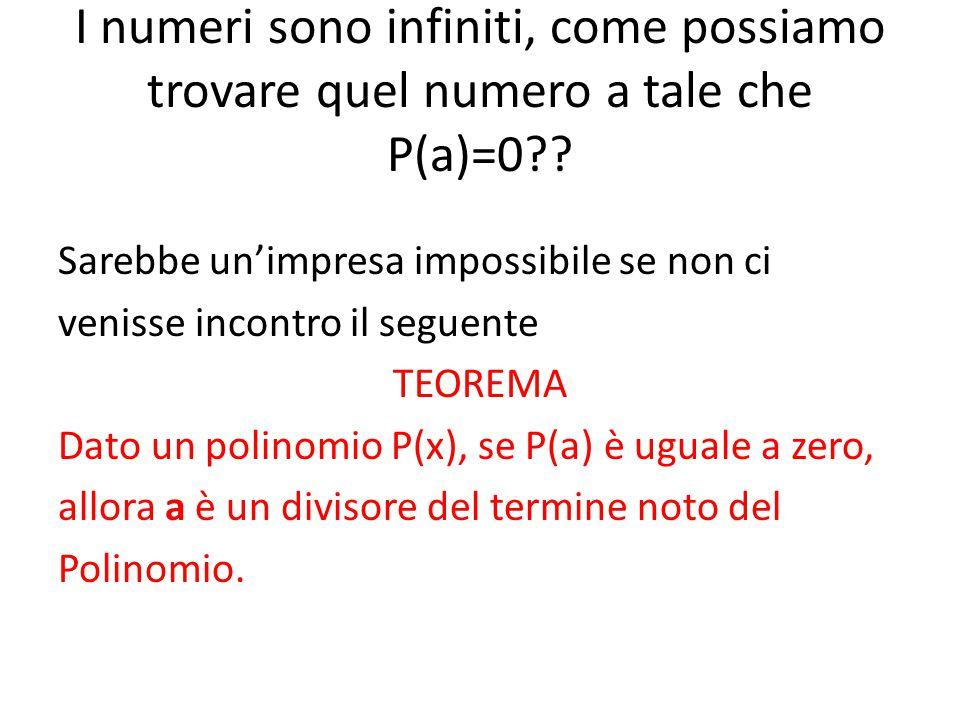 I numeri sono infiniti, come possiamo trovare quel numero a tale che P(a)=0?? Sarebbe un'impresa impossibile se non ci venisse incontro il seguente TE
