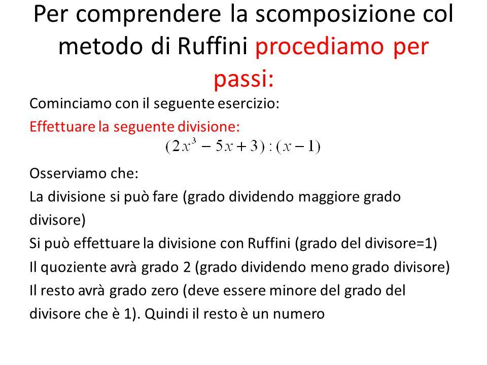Per comprendere la scomposizione col metodo di Ruffini procediamo per passi: Cominciamo con il seguente esercizio: Effettuare la seguente divisione: O