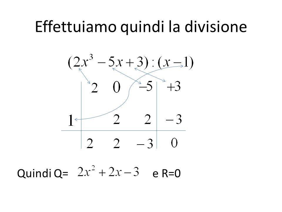 Effettuiamo quindi la divisione Quindi Q= e R=0