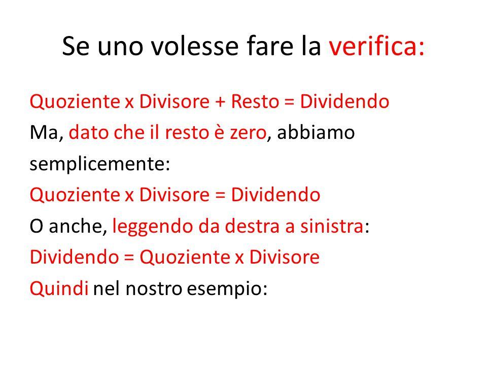 Se uno volesse fare la verifica: Quoziente x Divisore + Resto = Dividendo Ma, dato che il resto è zero, abbiamo semplicemente: Quoziente x Divisore =