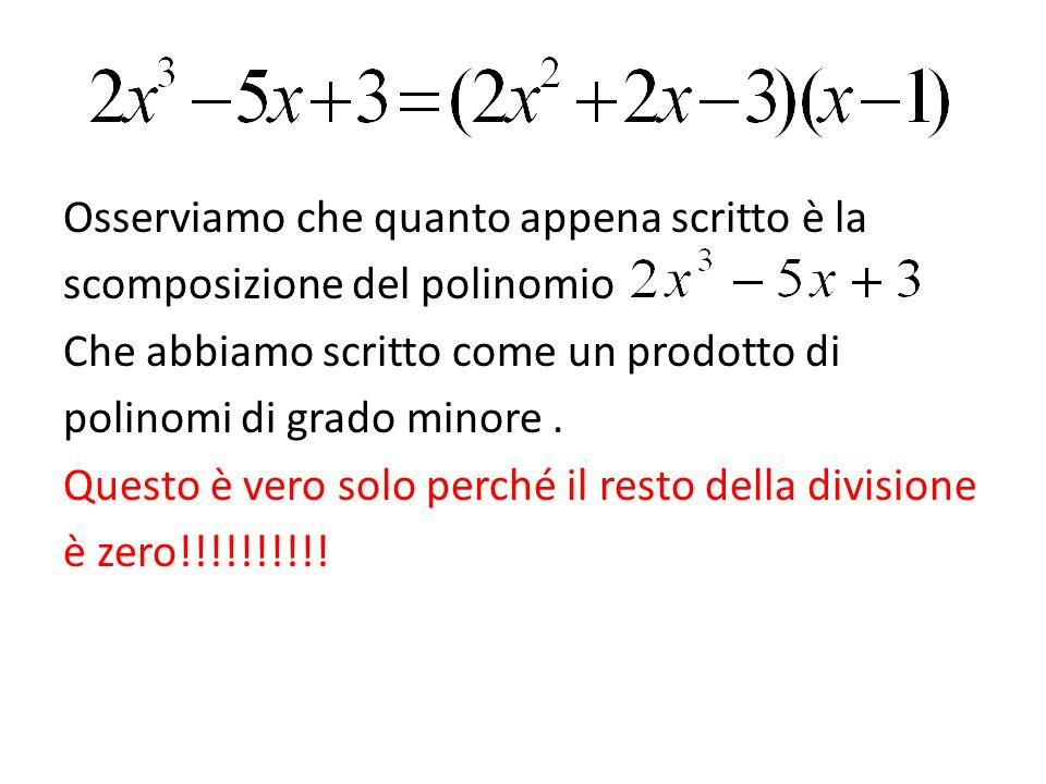 Osserviamo che quanto appena scritto è la scomposizione del polinomio Che abbiamo scritto come un prodotto di polinomi di grado minore. Questo è vero