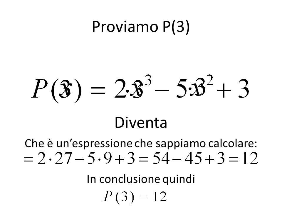 Proviamo P(3) Diventa Che è un'espressione che sappiamo calcolare: In conclusione quindi