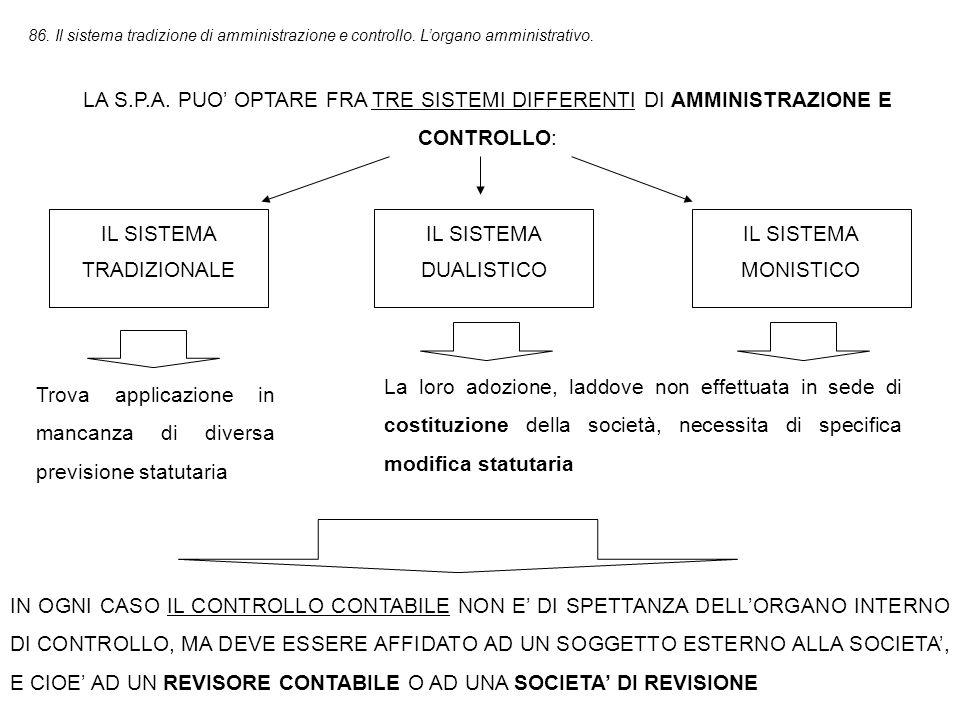 86.Il sistema tradizione di amministrazione e controllo.