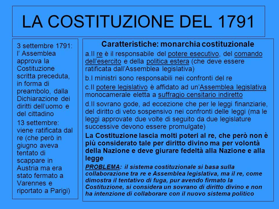 LA COSTITUZIONE DEL 1791 3 settembre 1791: l' Assemblea approva la Costituzione scritta preceduta, in forma di preambolo, dalla Dichiarazione dei diri