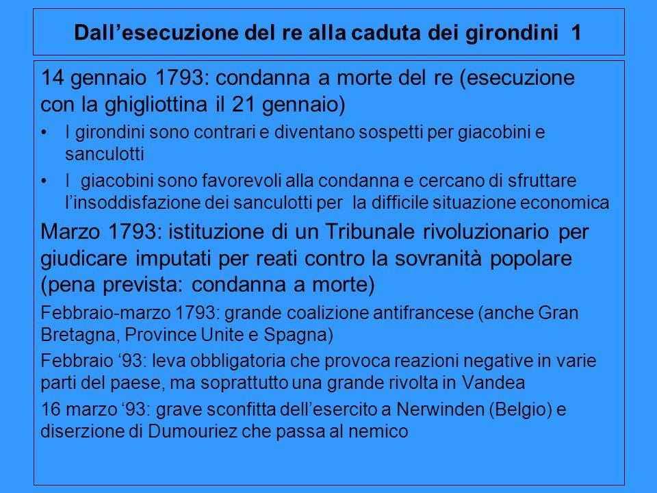 Dall'esecuzione del re alla caduta dei girondini 1 14 gennaio 1793: condanna a morte del re (esecuzione con la ghigliottina il 21 gennaio) I girondini