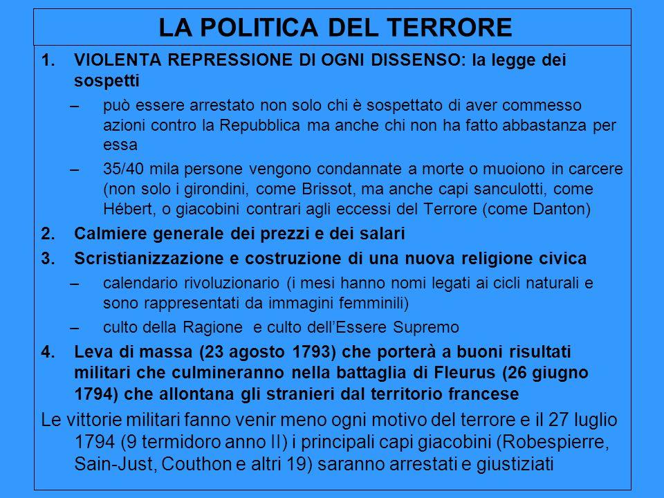 LA POLITICA DEL TERRORE 1.VIOLENTA REPRESSIONE DI OGNI DISSENSO: la legge dei sospetti –può essere arrestato non solo chi è sospettato di aver commess