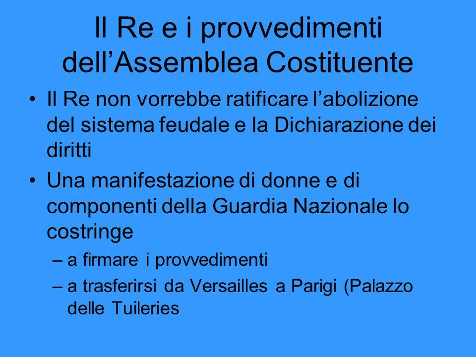 Il Re e i provvedimenti dell'Assemblea Costituente Il Re non vorrebbe ratificare l'abolizione del sistema feudale e la Dichiarazione dei diritti Una m