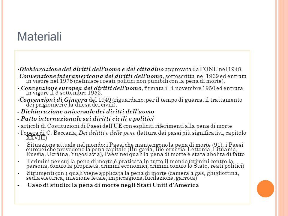STRUMENTI Materiali forniti dall'insegnante relativamente agli articoli delle Dichiarazioni e delle Costituizioni, passi dell'opera di Beccaria.
