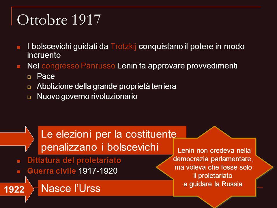 Ottobre 1917 I bolscevichi guidati da Trotzkij conquistano il potere in modo incruento Nel congresso Panrusso Lenin fa approvare provvedimenti  Pace