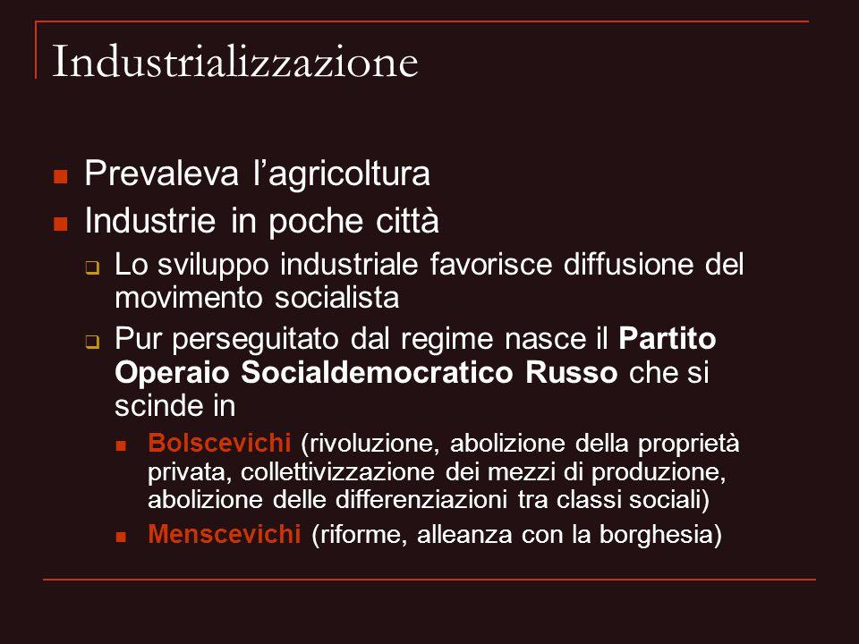 Industrializzazione Prevaleva l'agricoltura Industrie in poche città  Lo sviluppo industriale favorisce diffusione del movimento socialista  Pur per