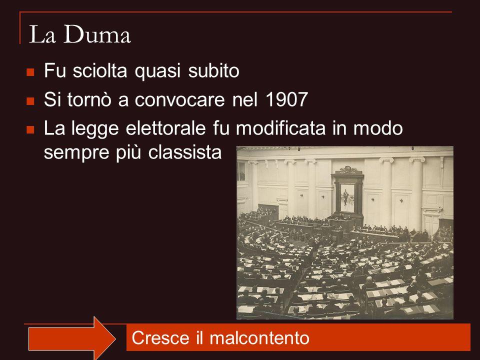 La Duma Fu sciolta quasi subito Si tornò a convocare nel 1907 La legge elettorale fu modificata in modo sempre più classista Cresce il malcontento