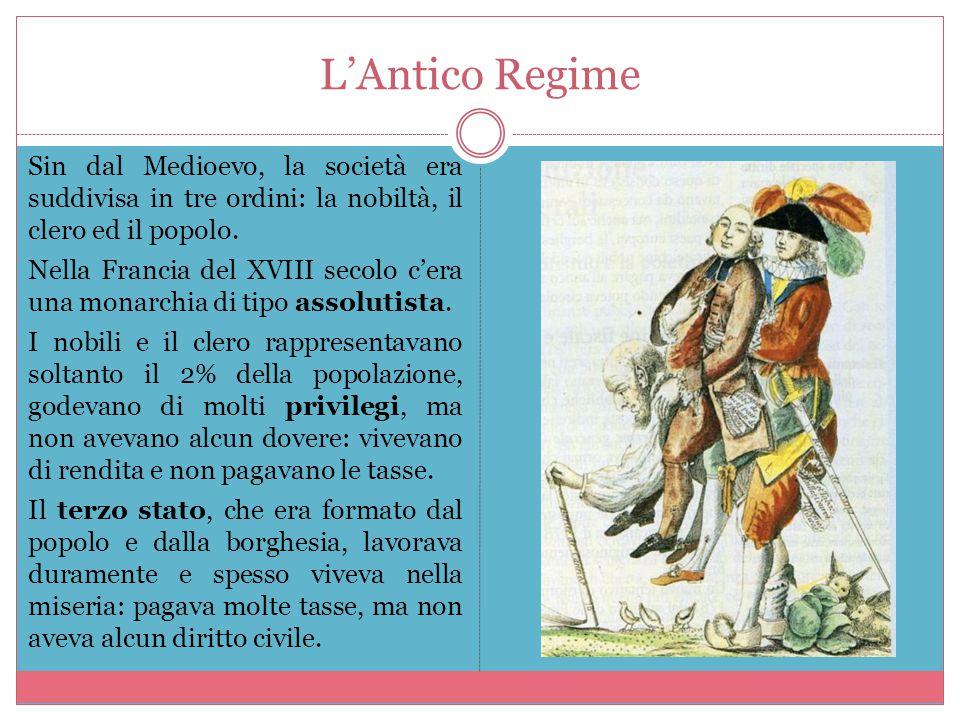 L'Antico Regime Sin dal Medioevo, la società era suddivisa in tre ordini: la nobiltà, il clero ed il popolo. Nella Francia del XVIII secolo c'era una