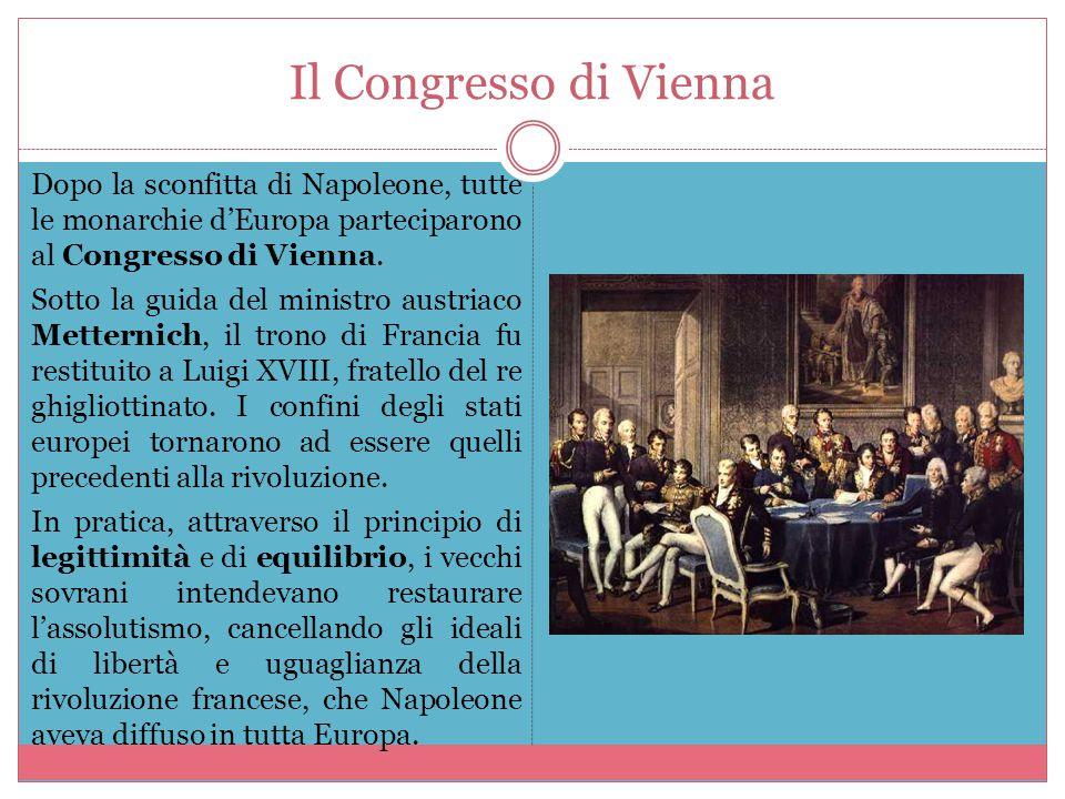 Il Congresso di Vienna Dopo la sconfitta di Napoleone, tutte le monarchie d'Europa parteciparono al Congresso di Vienna. Sotto la guida del ministro a