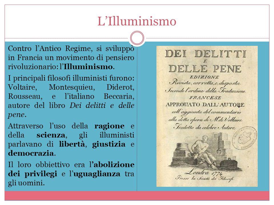 L'Illuminismo Contro l'Antico Regime, si sviluppò in Francia un movimento di pensiero rivoluzionario: l'Illuminismo. I principali filosofi illuministi
