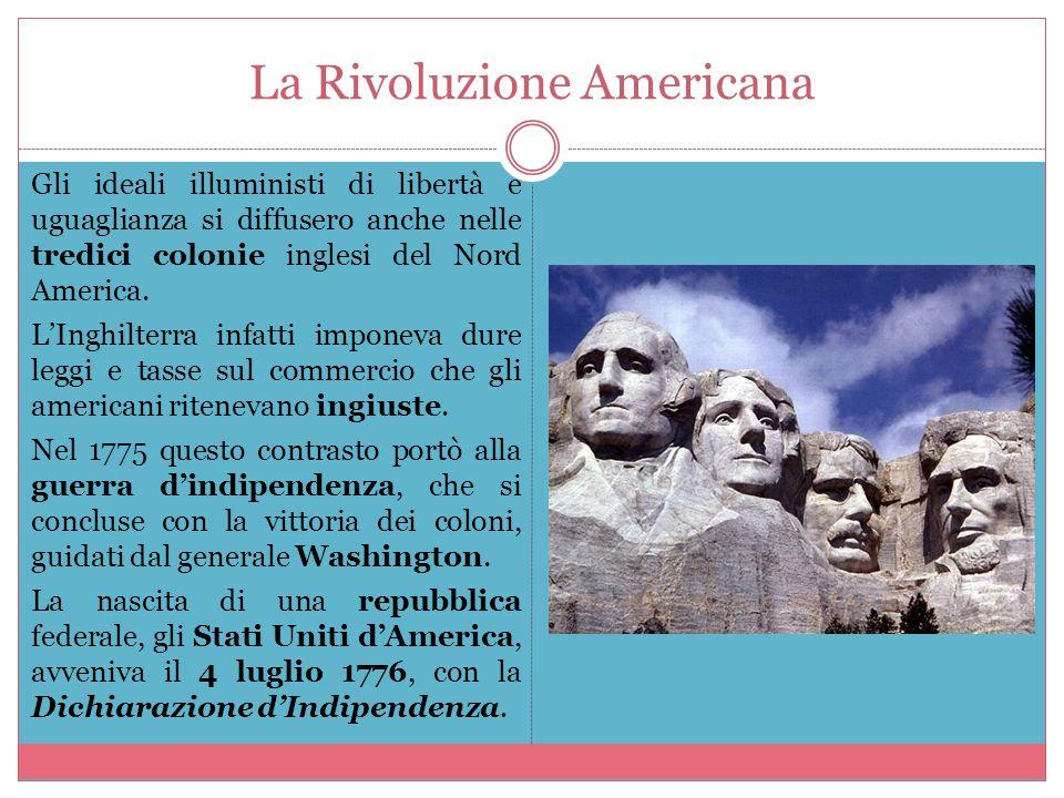 La Rivoluzione Americana Gli ideali illuministi di libertà e uguaglianza si diffusero anche nelle tredici colonie inglesi del Nord America. L'Inghilte