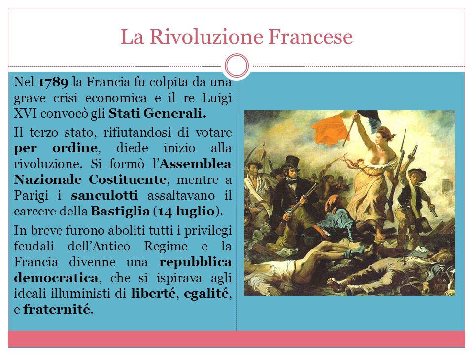 La Rivoluzione Francese Nel 1789 la Francia fu colpita da una grave crisi economica e il re Luigi XVI convocò gli Stati Generali. Il terzo stato, rifi