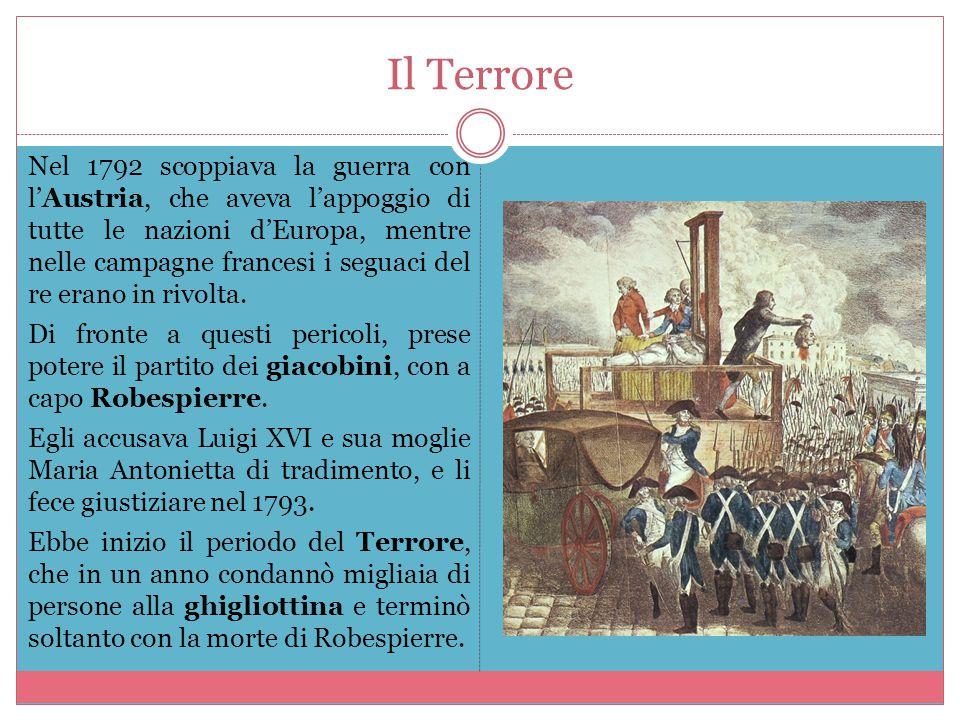 Il Terrore Nel 1792 scoppiava la guerra con l'Austria, che aveva l'appoggio di tutte le nazioni d'Europa, mentre nelle campagne francesi i seguaci del