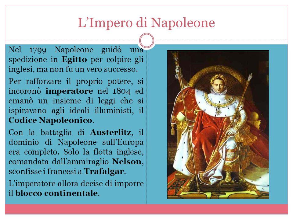 L'Impero di Napoleone Nel 1799 Napoleone guidò una spedizione in Egitto per colpire gli inglesi, ma non fu un vero successo. Per rafforzare il proprio