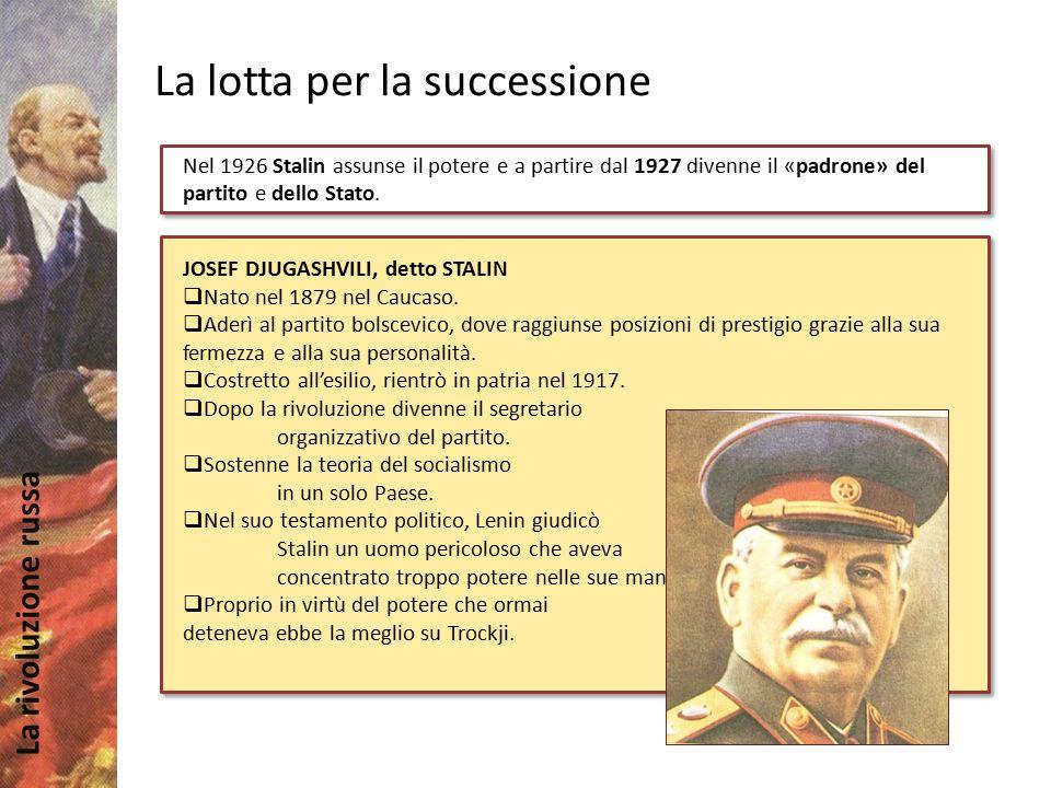 La rivoluzione russa La lotta per la successione Nel 1926 Stalin assunse il potere e a partire dal 1927 divenne il «padrone» del partito e dello Stato
