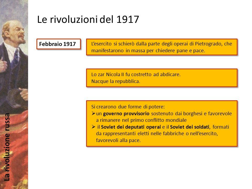 La rivoluzione russa Le rivoluzioni del 1917 Ottobre 1917 4 aprile: Lenin rientrò a Pietrogrado dall'esilio in Svizzera e indicò ai bolscevichi gli obiettivi della rivoluzione (Tesi di aprile): potere ai soviet, pace, terra ai contadini.
