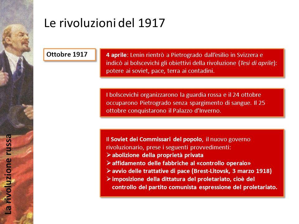 La rivoluzione russa Le rivoluzioni del 1917 Ottobre 1917 4 aprile: Lenin rientrò a Pietrogrado dall'esilio in Svizzera e indicò ai bolscevichi gli ob
