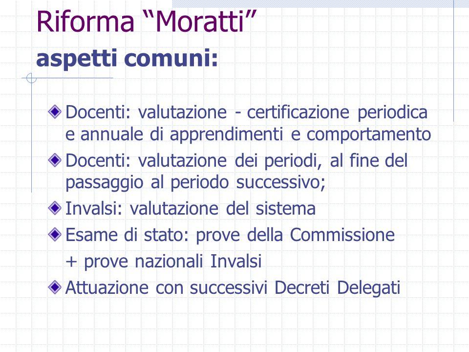 """Riforma """"Moratti"""" aspetti comuni: Docenti: valutazione - certificazione periodica e annuale di apprendimenti e comportamento Docenti: valutazione dei"""