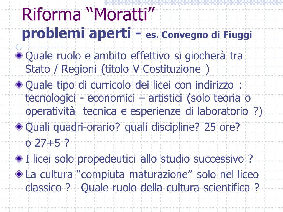 """Riforma """"Moratti"""" problemi aperti - es. Convegno di Fiuggi Quale ruolo e ambito effettivo si giocherà tra Stato / Regioni (titolo V Costituzione ) Qua"""