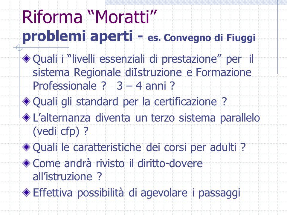 """Riforma """"Moratti"""" problemi aperti - es. Convegno di Fiuggi Quali i """"livelli essenziali di prestazione"""" per il sistema Regionale diIstruzione e Formazi"""