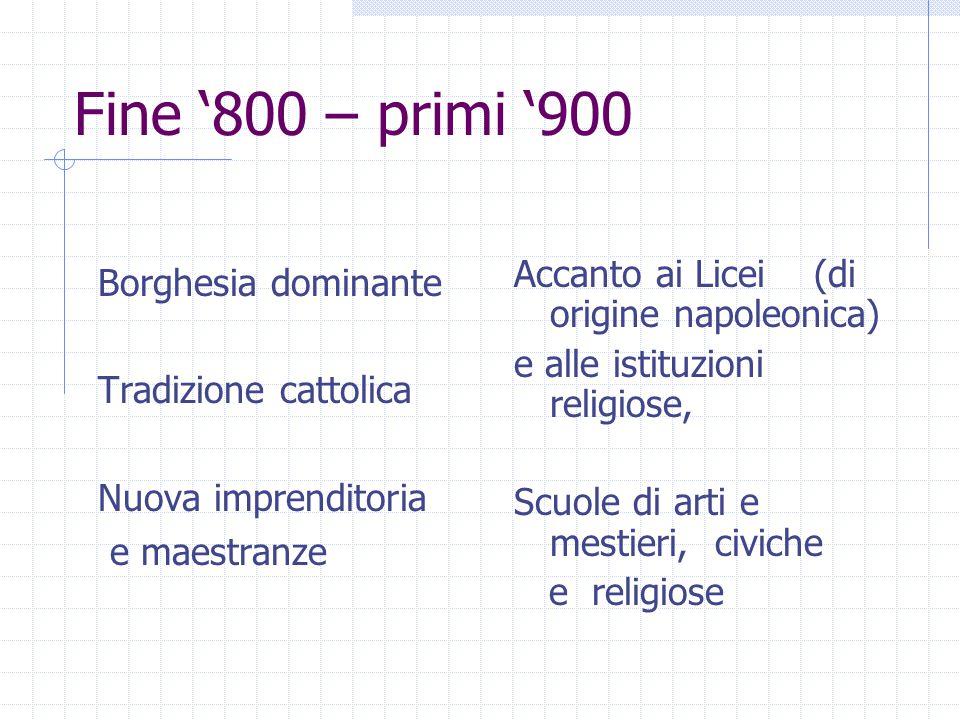 Fine '800 – primi '900 Borghesia dominante Tradizione cattolica Nuova imprenditoria e maestranze Accanto ai Licei (di origine napoleonica) e alle istituzioni religiose, Scuole di arti e mestieri, civiche e religiose