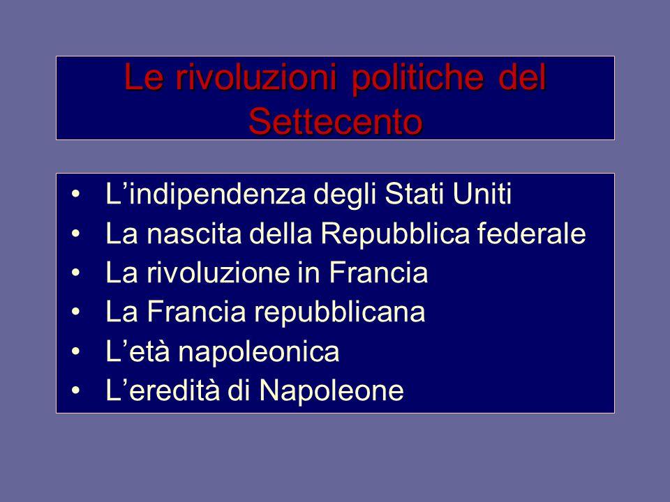 Le rivoluzioni politiche del Settecento L'indipendenza degli Stati Uniti La nascita della Repubblica federale La rivoluzione in Francia La Francia repubblicana L'età napoleonica L'eredità di Napoleone