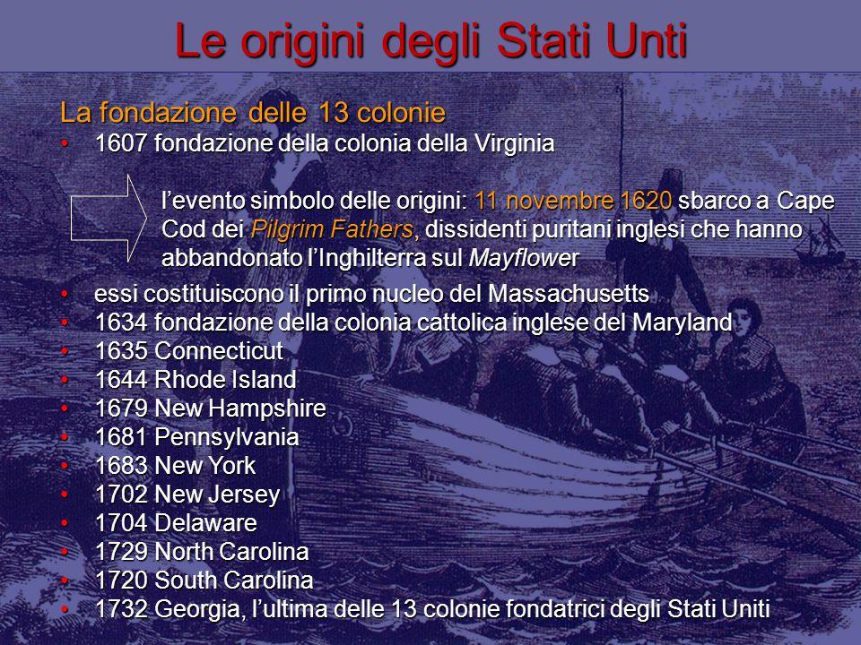 La fondazione delle 13 colonie 1607 fondazione della colonia della Virginia1607 fondazione della colonia della Virginia l'evento simbolo delle origini