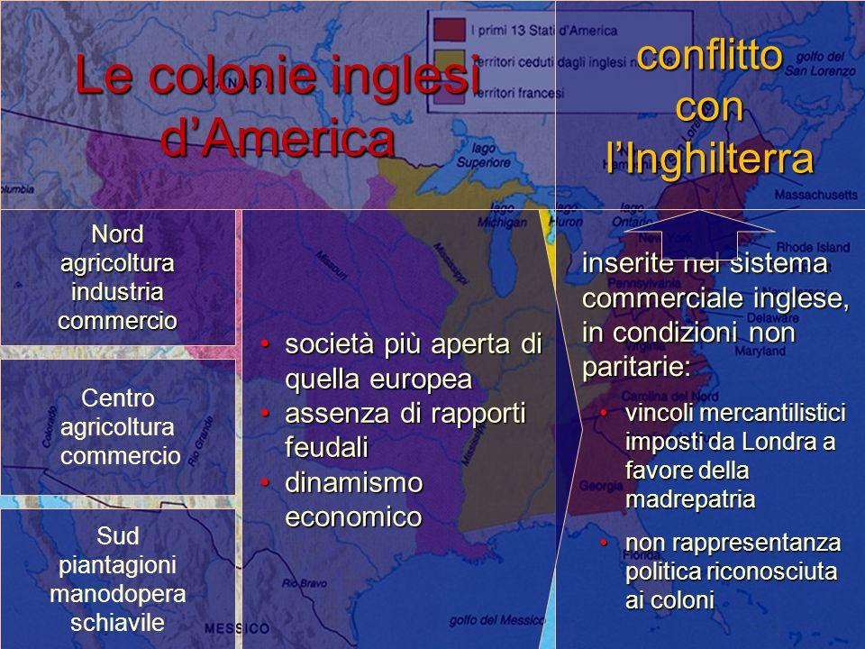 Le colonie inglesi d'America Nordagricoltura industria commercio inserite nel sistema commerciale inglese, in condizioni non paritarie: vincoli mercan