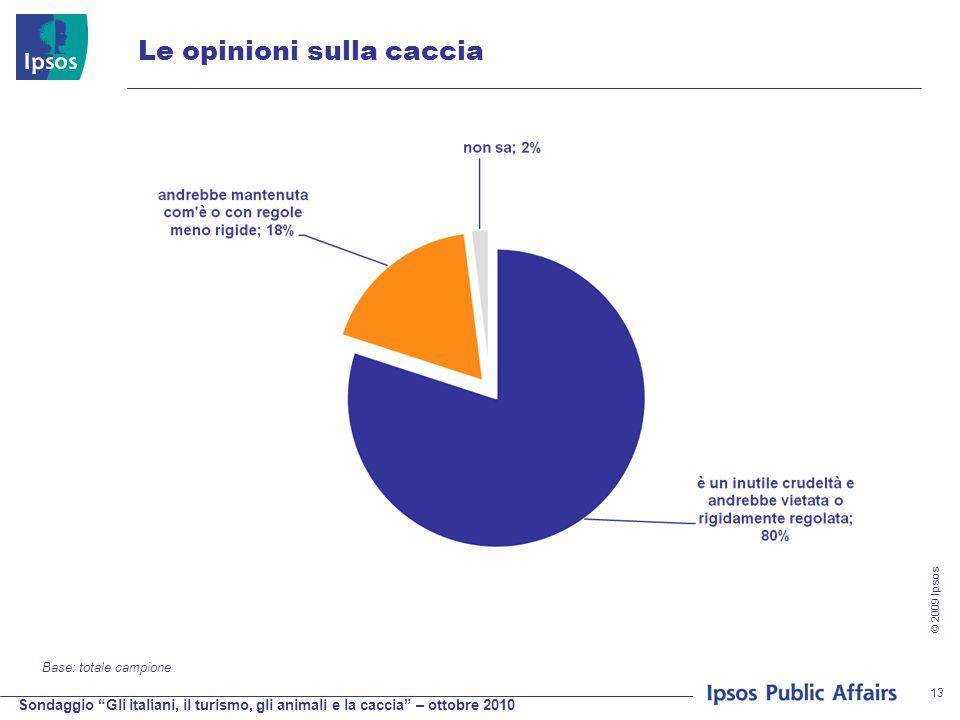 Sondaggio Gli italiani, il turismo, gli animali e la caccia – ottobre 2010 © 2009 Ipsos 13 Le opinioni sulla caccia Base: totale campione