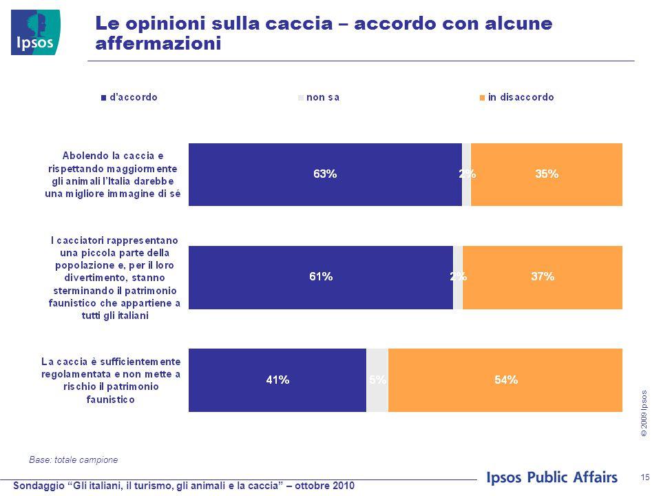 Sondaggio Gli italiani, il turismo, gli animali e la caccia – ottobre 2010 © 2009 Ipsos 15 Le opinioni sulla caccia – accordo con alcune affermazioni Base: totale campione