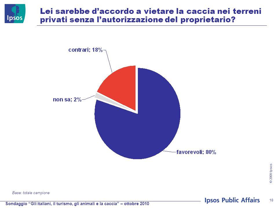 Sondaggio Gli italiani, il turismo, gli animali e la caccia – ottobre 2010 © 2009 Ipsos 18 Lei sarebbe d'accordo a vietare la caccia nei terreni privati senza l'autorizzazione del proprietario.