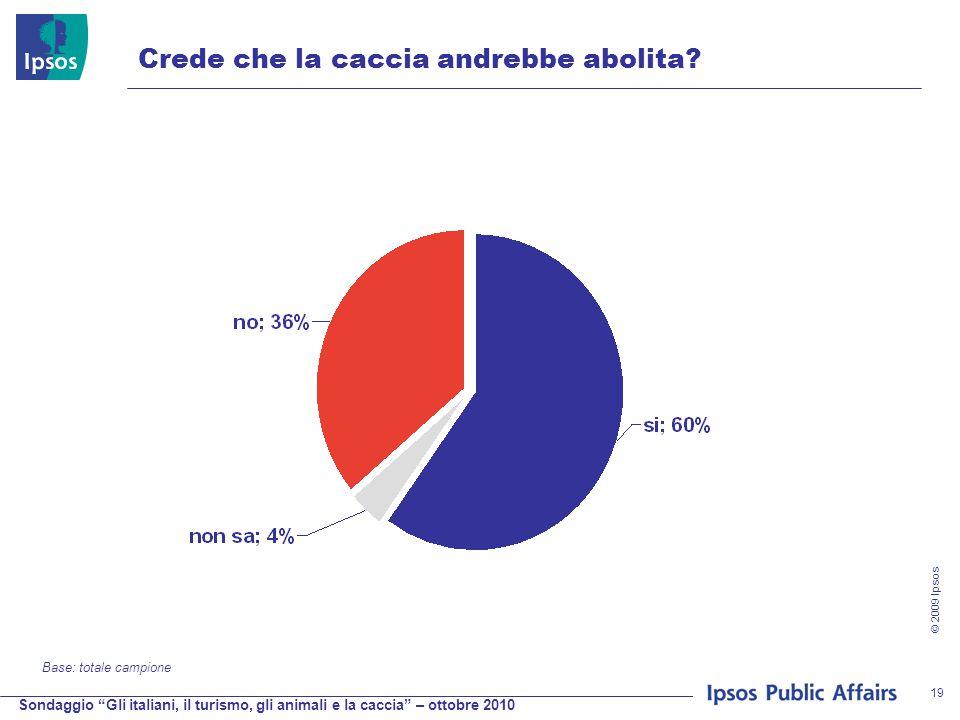 Sondaggio Gli italiani, il turismo, gli animali e la caccia – ottobre 2010 © 2009 Ipsos 19 Crede che la caccia andrebbe abolita.