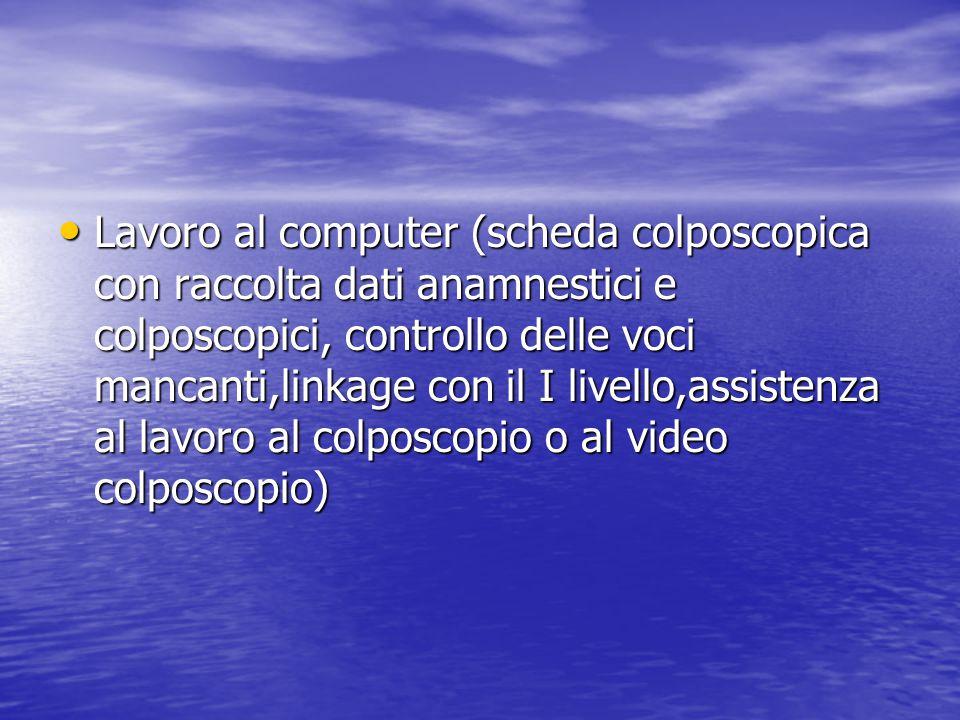 Lavoro al computer (scheda colposcopica con raccolta dati anamnestici e colposcopici, controllo delle voci mancanti,linkage con il I livello,assistenz