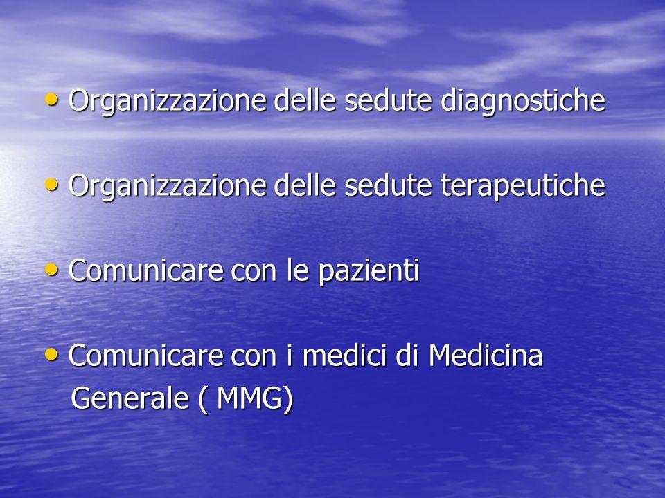 Organizzazione delle sedute diagnostiche Organizzazione delle sedute diagnostiche Organizzazione delle sedute terapeutiche Organizzazione delle sedute